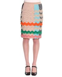 Missoni | Multicolor Ruffled Zigzag Pencil Skirt | Lyst