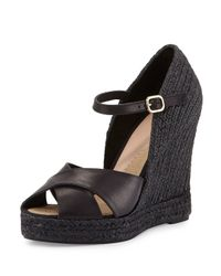 Andre Assous | Black Giulia Leather Espadrille Wedge Sandal | Lyst