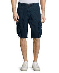 True Religion   Blue Weekender Frayed Cargo Shorts for Men   Lyst