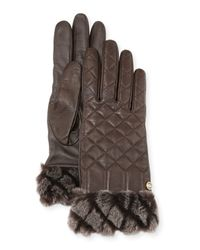 UGG | Brown Croft Quilted Leather Smart Gloves | Lyst