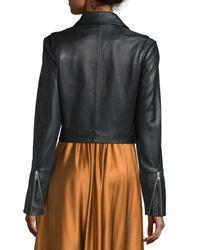 Elizabeth and James - Black Gigi Cropped Leather Biker Jacket - Lyst
