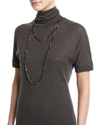 Brunello Cucinelli - Brown Hematite Beaded Long Necklace - Lyst