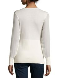 Neiman Marcus - White Cashmere Sheer-sleeve V-neck Top - Lyst