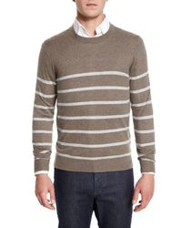 Neiman Marcus - Gray Cashmere-cotton Striped Crewneck Sweater for Men - Lyst