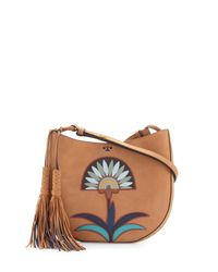 Tory Burch | Brown Utopia Appliqué Hobo Bag | Lyst
