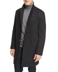 Michael Kors | Black Wool-blend Knit Crombie Coat for Men | Lyst