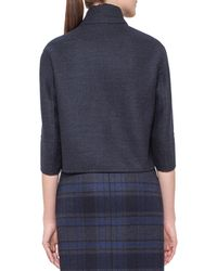 Akris - Blue Emma Reversible Solid/plaid Cocoon Jacket - Lyst