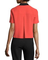 RED Valentino - Red Short-Sleeve Contrast Wool Jacket - Lyst
