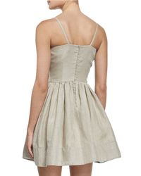 RED Valentino - Brown Sleeveless Bow-front A-line Linen Dress - Lyst