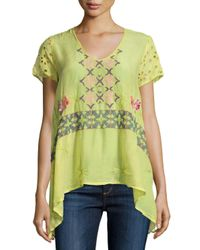 Johnny Was - Multicolor Wilson Eyelet-sleeve Embroidered Tunic - Lyst