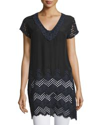 Johnny Was - Black April Eyelet-sleeve Long Tunic - Lyst