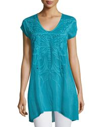 Johnny Was - Blue Butterfly Flo Cap-sleeve Tunic - Lyst