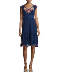 Johnny Was - Blue Cecilia V-neck Floral-embroidered Dress - Lyst