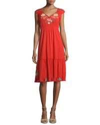 Johnny Was - Cecilia V-neck Floral-embroidered Dress - Lyst