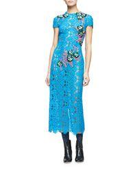 Monique Lhuillier | Blue Short-sleeve Embellished-lace Midi Dress | Lyst