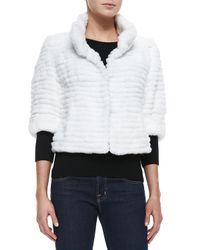 Belle Fare - White High-collar Layered Fur Coat - Lyst