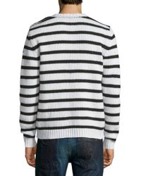 Moncler - Multicolor Cable-knit Striped Long-sleeve Sweater for Men - Lyst