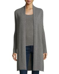 Neiman Marcus | Gray Long Cashmere Duster Cardigan | Lyst