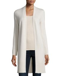 Neiman Marcus   White Long Rib-trimmed Open-front Cashmere Cardigan   Lyst
