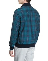 Isaia - Black Reversible Leather/plaid Zip-up Bomber Jacket for Men - Lyst