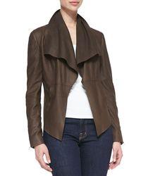Neiman Marcus - Black Leather Drape-front Jacket - Lyst