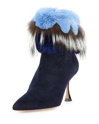 Manolo Blahnik | Blue Remola Fur-trim Suede Bootie | Lyst
