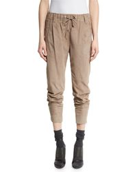 Brunello Cucinelli - Natural Suede Drawstring Jogger Pants - Lyst