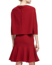 Teri Jon - Red 3/4-sleeve Wool Popover Fit-and-flare Dress - Lyst