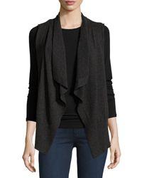 Neiman Marcus - Black Cashmere Draped Vest - Lyst