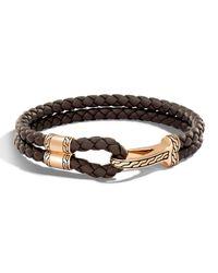 John Hardy | Brown Men's Classic Chain Braided Leather Hook Station Bracelet for Men | Lyst