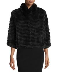 Belle Fare - Black High-collar Layered Fur Coat - Lyst