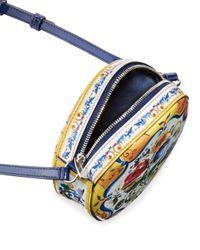Dolce & Gabbana - Blue Floral Majolica Leather Crossbody Bag - Lyst