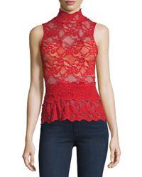 Nightcap | Red Lace Peplum Sleeveless Top | Lyst