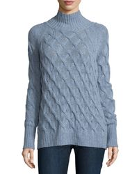 360cashmere - Blue Marlowe Mock-Neck Cashmere Cable-Knit Sweater - Lyst