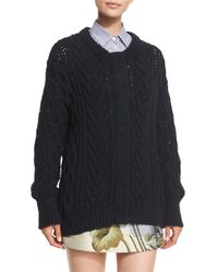 Adam Lippes | Blue Marled Cable-knit Long-sleeve Cardigan | Lyst