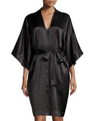 Neiman Marcus | Black Contrast-trimmed Silk Kimono Robe | Lyst