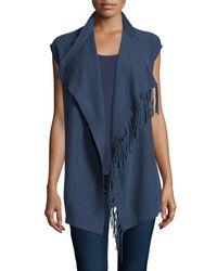 Neiman Marcus - Blue Fringe-trim Cashmere Vest - Lyst