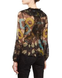 Etro | Green Floral Lace-trim Ruffled Blouse | Lyst