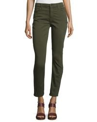 Jen7 - Green Brushed Sateen Skinny Ankle Jeans - Lyst