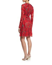 Naeem Khan - Red Lace Long-sleeve A-line Cocktail Dress - Lyst