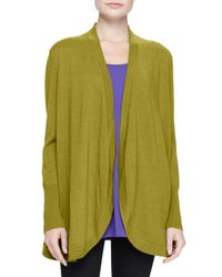Eileen Fisher | Green Merino Jersey Long Cardigan | Lyst