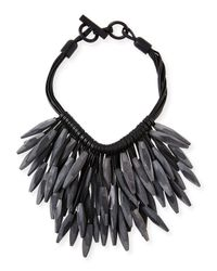 Nest | Black Gray Horn & Leather Collar Necklace | Lyst