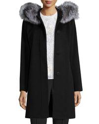 Fleurette | Black Hooded Wool Fur-trim Coat | Lyst