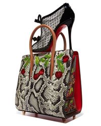 Christian Louboutin - Black Paloma Small Watersnake Cherry Tote Bag - Lyst