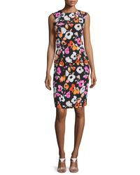 Oscar de la Renta - Black Sleeveless Mixed Poppy-print Dress - Lyst