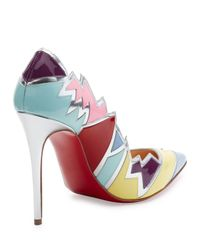 Christian Louboutin | Multicolor Explotek Jagged Leather 100mm Red Sole Pump | Lyst