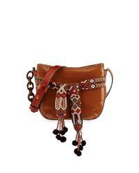 Tory Burch | Brown Gemini Small Patent Hobo Bag | Lyst