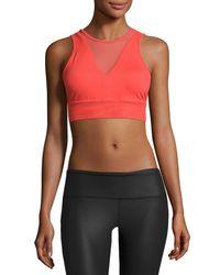Alo Yoga | Red Jubilee Mesh-inset Sports Bra | Lyst