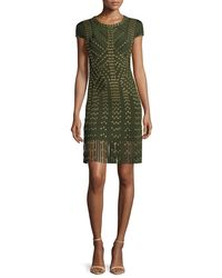 Hervé Léger | Green Cap-sleeve Grommet Fringe-skirt Bandage Dress | Lyst