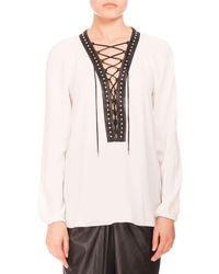 Altuzarra | White Studded Lace-up Peasant Blouse | Lyst